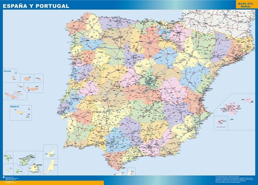 Carte Portugal Espagne France.Carte Espagne Elementaire Plastifiee