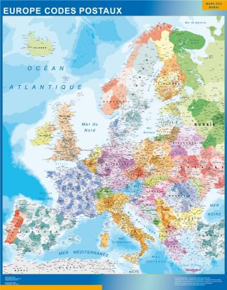 Carte Europe Codes Postaux plastifiée