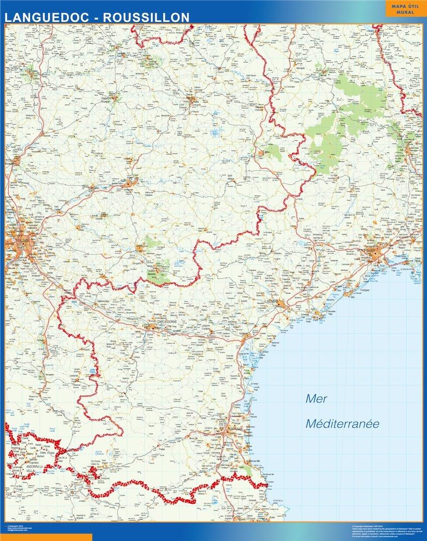 Carte Languedoc Roussillon.Carte Languedoc Roussillon Plastifiee Cartes France Et Monde